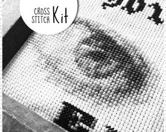 Cross stitch kit . ANATOMY HUMAN EYE . modern black & white embroidery kit . monochrome xstitch set . counted needlework kits dmc floss