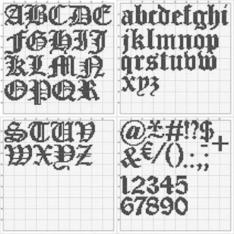 Cross stitch font GOTHIC FONT ABC modern xstitch alphabet image 0