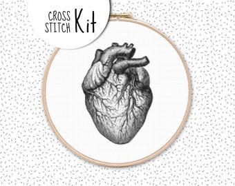 Modern cross stitch kit ANATOMICAL HEART, vintage black and white embroidery kit, large needlepoint craft diy kits, human anatomy pattern