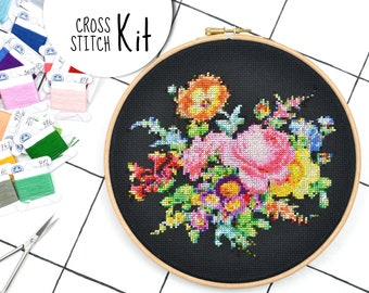 Cross stitch kit . BOUQUET OF FLOWERS . 25 Dmc colors victorian embroidery kit . floral wedding decor counted xstitch needlework