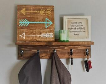 Wall Coat Rack, Key Holder, robe hook, wood shelf, for him, gift idea, wall key holder, wall decor, mud room shelf, towel rack, housewarming