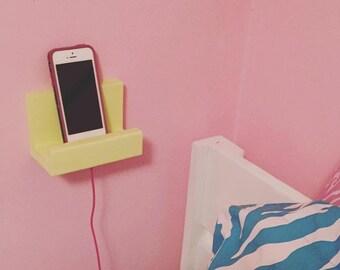 Dorm Decor, Wall phone holder, Docking Station, Charging station, teen, gift idea, shelf, iphone, ipad, apartment, tablet, for her, shelf
