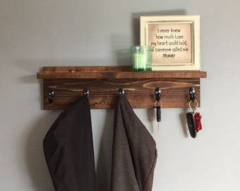 Key holder, Wall Coat Rack, robe hook, wood shelf, for him, gift idea, wall key holder, wall decor, mud room shelf, towel rack, housewarmi