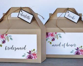 Set 10 BRIDESMAID Kraft Gable Boxes Floral Purple Plum Merlot Marsala Coral Pink flowers greenery - bridal party gifts