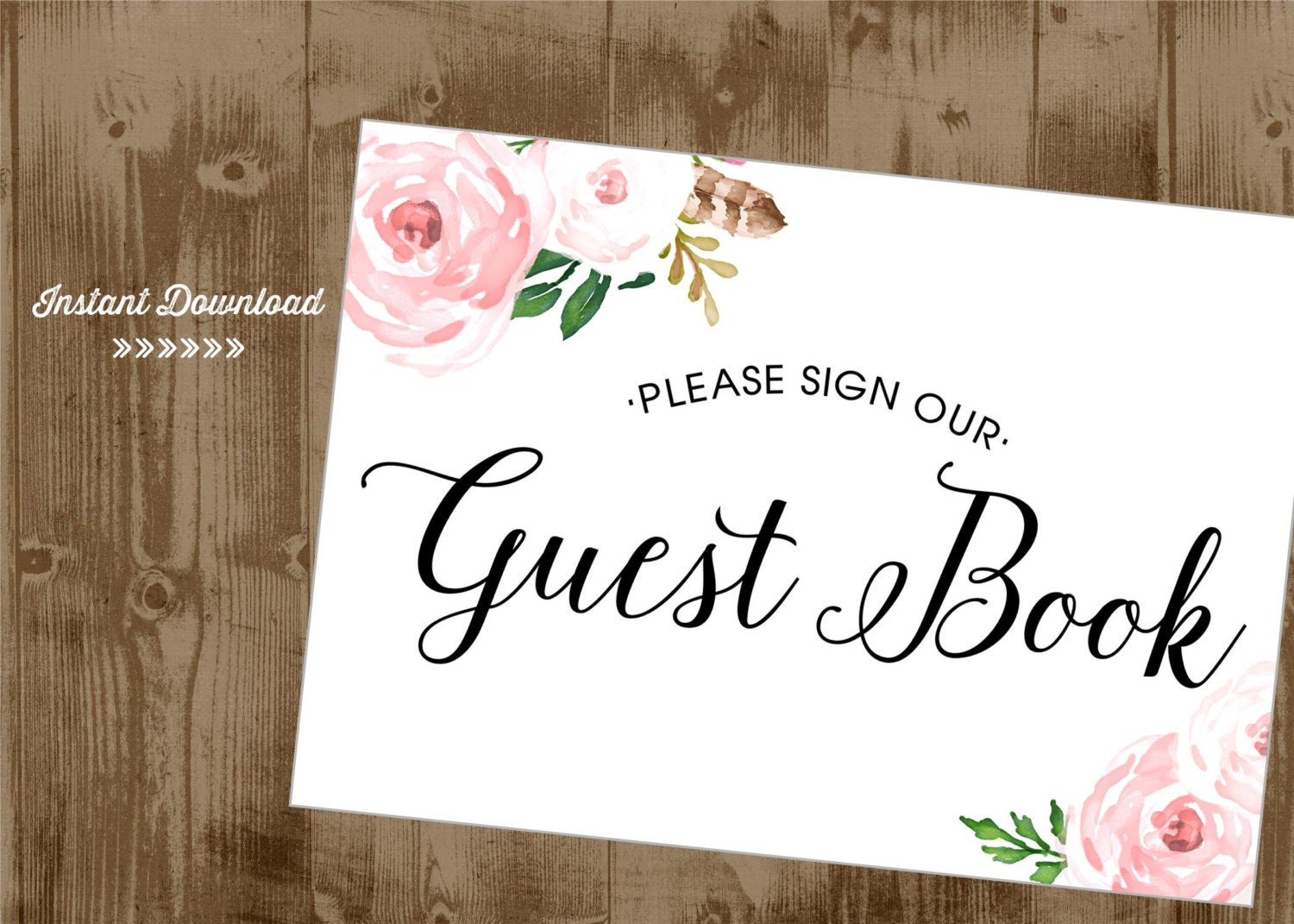 Pink Blush Vintage Flowers Roses Guest Book Printable 5x7 Sign Etsy