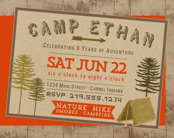 Woodsy Camping Party Printable Invitation
