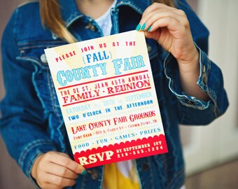 County Fair Printable Party Invitation - Country - summer  - fall carnival