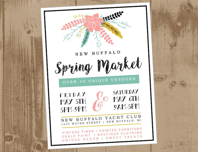 Printable Flyer Spring Floral Vendor Market Craft Fair Etsy