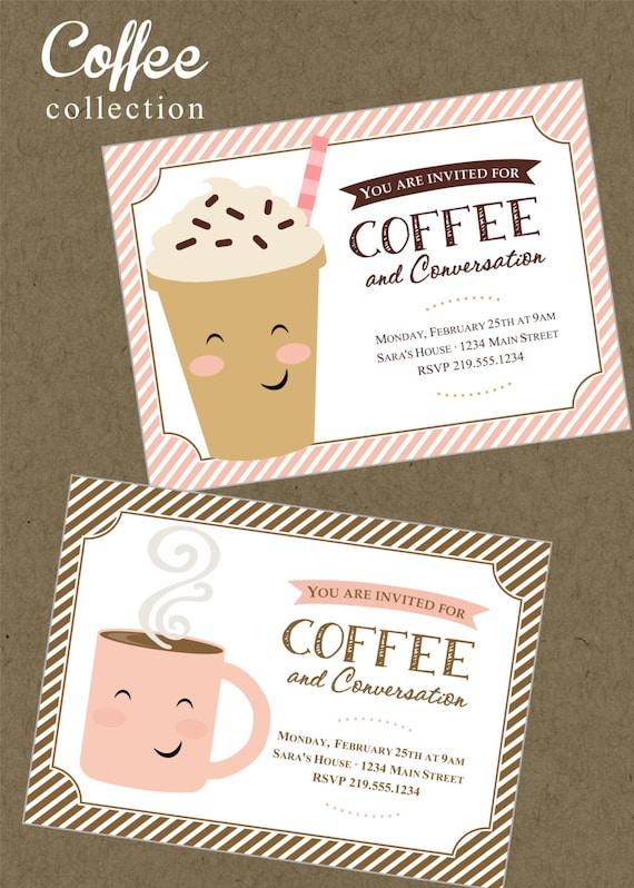 Kawy Zaproszenie Do Druku Mama Party Spotkanie Biznesowe Etsy