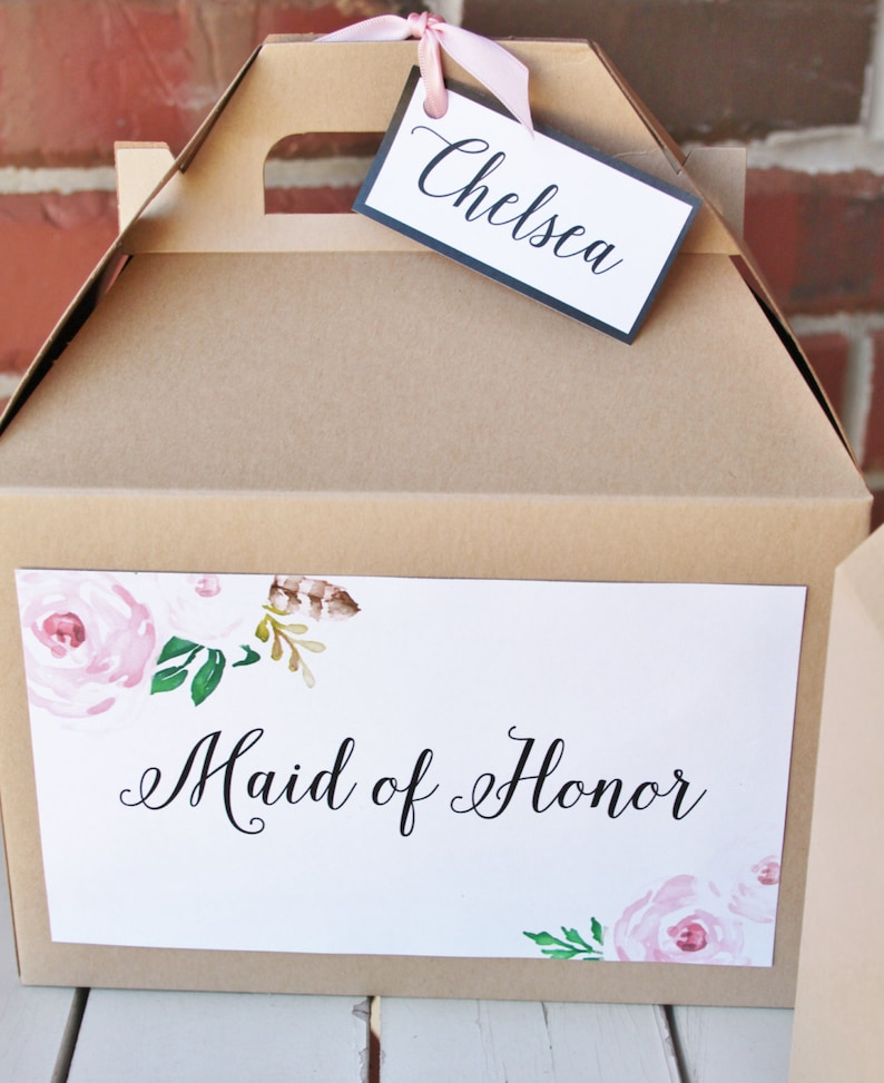 Blush Pink Floral Vintage Roses Set 12 BRIDESMAID Kraft Gable Boxes calligraphy bridal party Thank you gift or breakfast or snacks