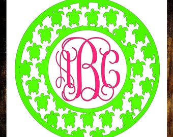 Monogram Turtle Decal - Monogram Decal - Turtle Decal - Turtle Frame Decal