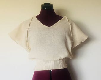 80s Cream Crop Top Boho M by Semplice made in Italy