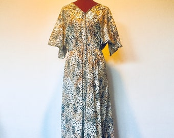 Vintage Leopard Print Nylon Dress Maxi Lounge Dress Cover Up Robe made in US by Granada VLV