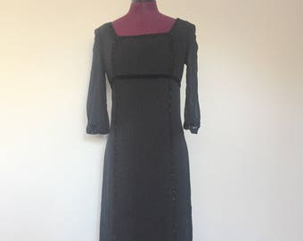 90s Black Silk Dress Crochet Glass Beads Size XS S by Cynthia Howie for Maggy Boutique