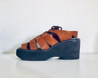 b6ac504cae56 90s Platform Sandals Wedge Leather Sandals Size 6.5 1 2 M 36 37 made in  Brazil by Bongo