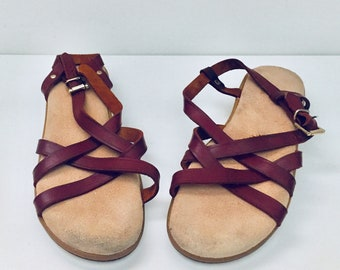 296d3745bf21d White Leather Sandals Flats Ankle Straps 10 M 41 42 by Bass | Etsy