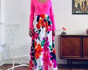 8e37c581630 60s Maxi Dress Big Print Floral Long Gown S M Julie Miller