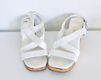 ca3d0d1f7841 70s White Leather Platform Sandals Wood Wedge Heel Made in Italy 10 41 42 made  in Italy by Saks Fifth Ave