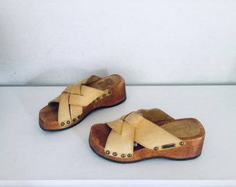 3aed8cc6dde 90s Clogs Platform Sandals Leather Strappy Wood Heels by Candies Size 6 36