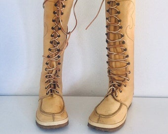 0414d8ec3333 70s Lace Up Boots Leather Knee High Boots Rubber Sole Heels Size 6 36