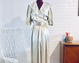 b7c37f36f41 80s Satin Dress Lace Made in US by Joni Blair Size S M 6 7