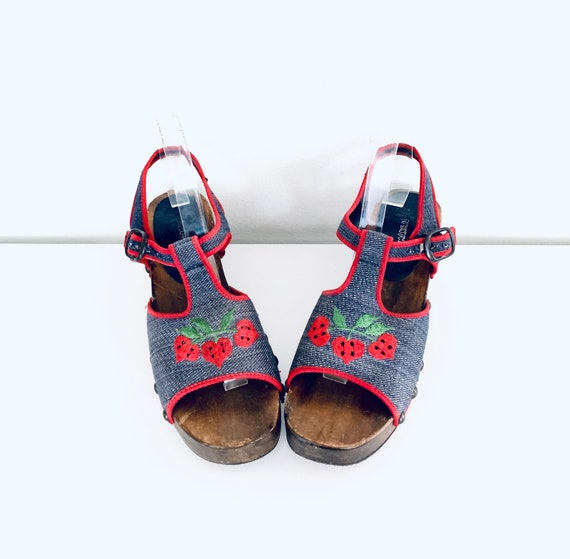 70s Platform Clog Sandals Denim Strawberries by P… - image 6