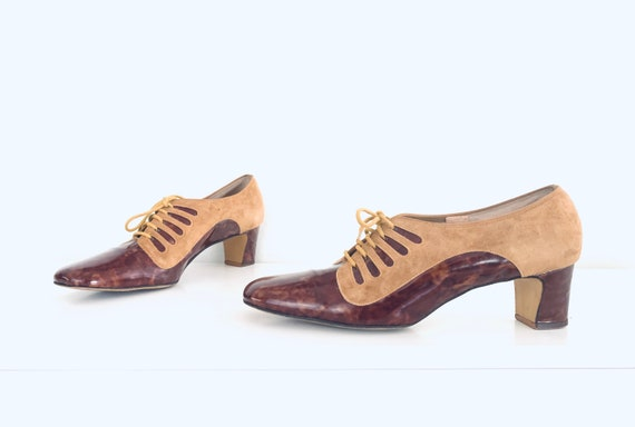 60s Lace Up Mary Janes Shoes Tortoise Shell  Chunk