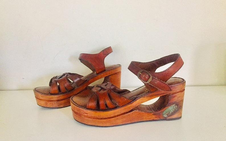 4a29b801eddc 70s Platform Clog Sandals Wood Wedge Sandals Cut Out Heels