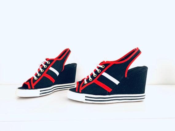 70s Platform Sneakers Open Toe Platforms size 7 37