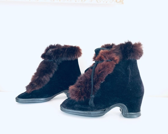 40s Boots Fur Lined Winter Boots UNUSED made in US