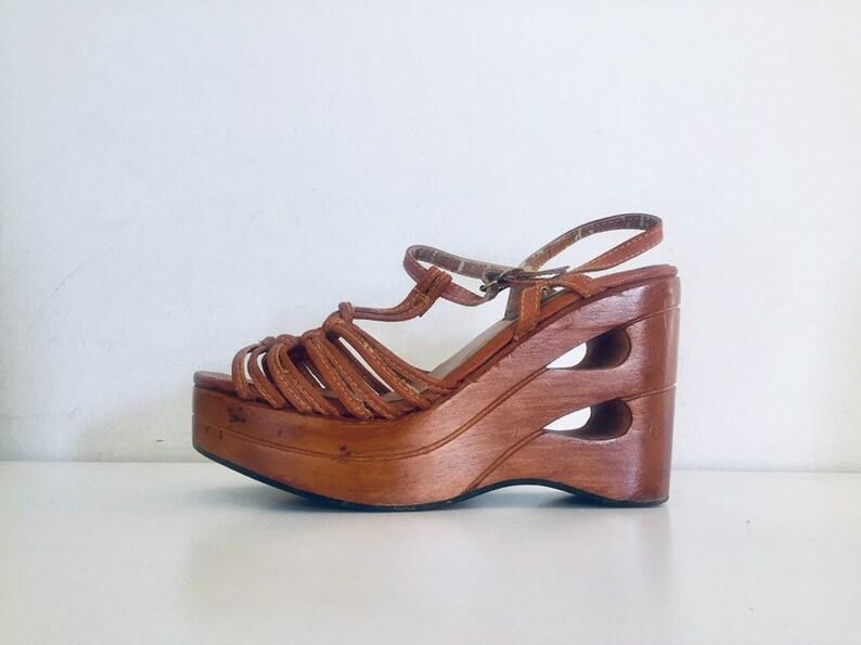 0d3cb470d1ab 70s Platform Clog T-Strap Sandals Wood Wedge Sandals Cut Out