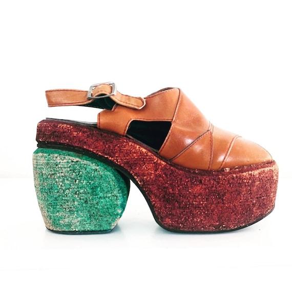 70s Platforms Sandals Cork Heels Ankle Straps made