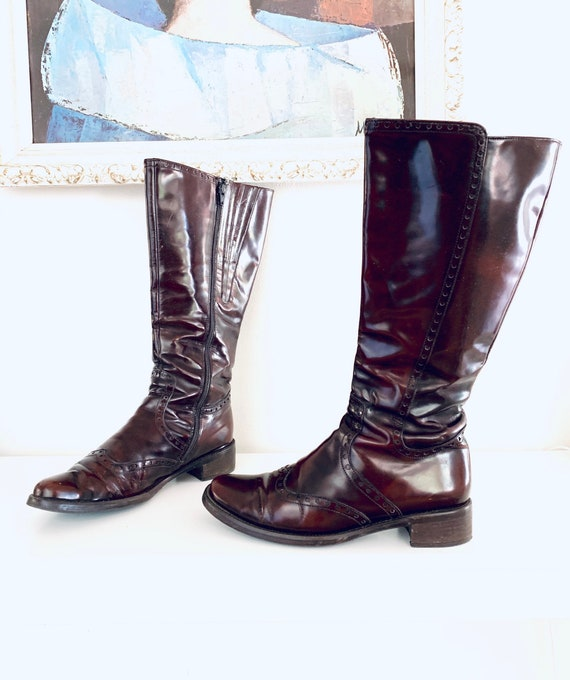 60s Boots Oxblood Leather Knee High Boots Wood Hee
