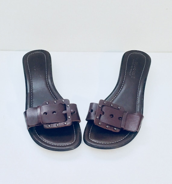 eb2f8c23d66f2 Brown Leather Sandals Made in Italy by Gannetti size 9.5 1 2