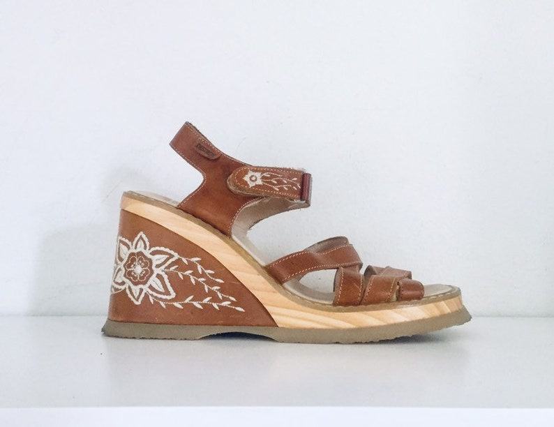 7241e1fc5 90s Platform Clogs Sandals Wooden Heels Ankle Straps made in