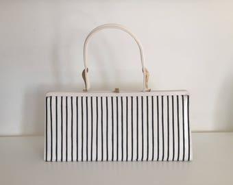 50s Hand Bag Purse Monochromatic Black White Stripes by Nicholas Reich