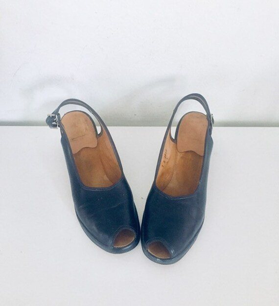 40s Shoes Blue Sandals Leather Slings Chunky Heel… - image 5