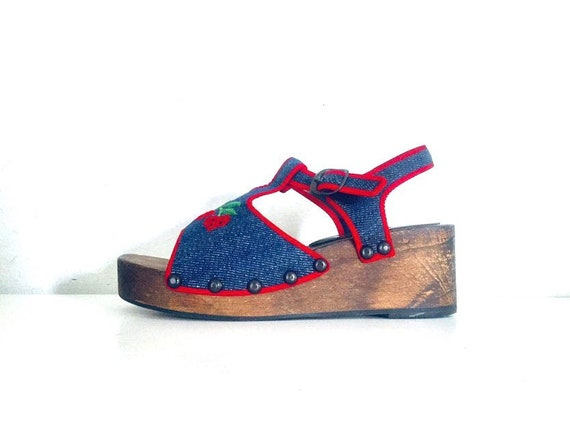 70s Platform Clog Sandals Denim Strawberries by P… - image 2