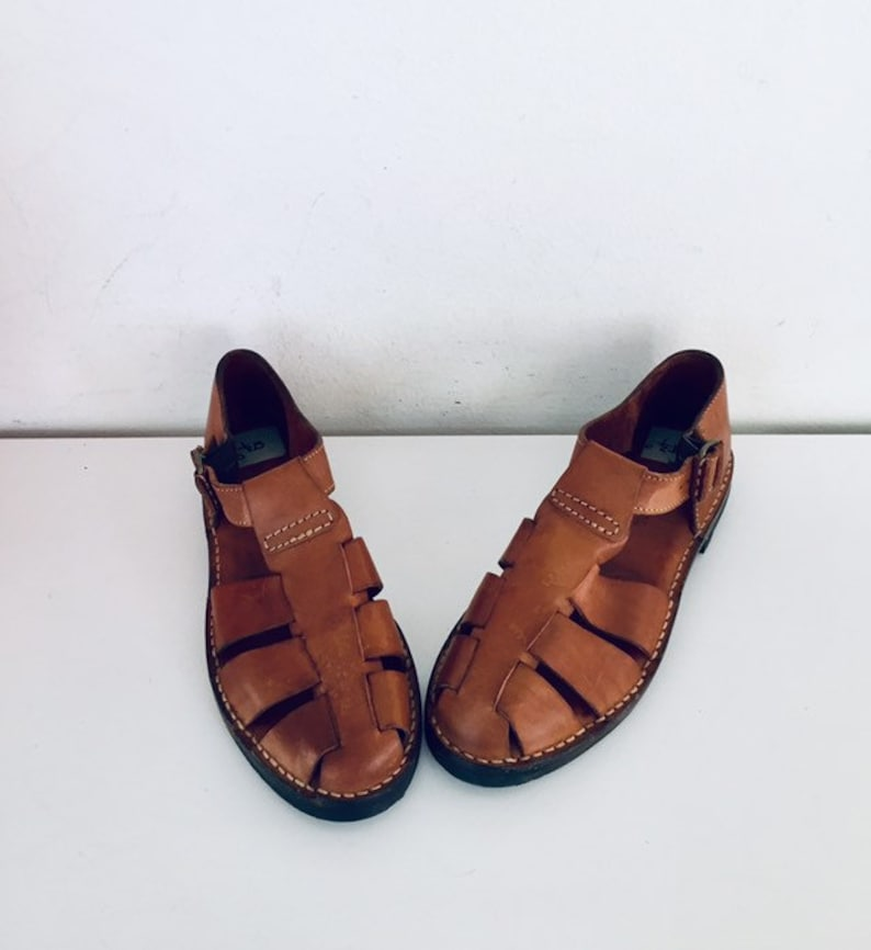 1c0aecbf35f1e 90s Huarache Sandals Huaraches Brown Leather Sandals Ankle Strap Made in  Brazil by Cole Haan Size 6.5 M 36 37 UNUSED