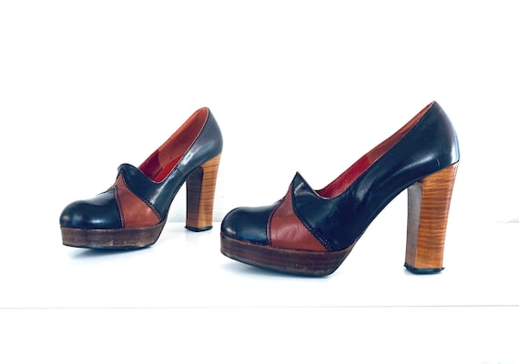 70s Platforms Colorblock Chunky Heel Shoes size 8