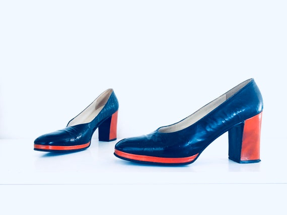 60s Leather Platform Heels Shoes made in Italy for