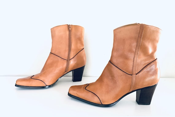 90s Boots Leather Western Ankle Boots Chunky Heels