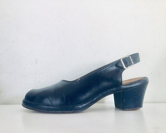 40s Shoes Blue Sandals Leather Slings Chunky Heel… - image 3