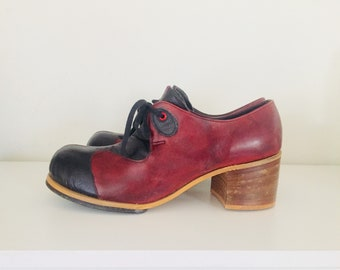 70s Platforms Leather Dress Shoes Two Tone Mens Platform Shoes Size 9.5 1/2 by Gallenkamp