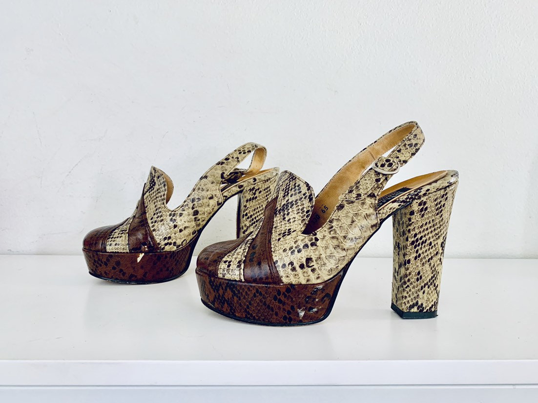 2047e5eed9f 70s Snakeskin Platforms Heels Shoes Ankle Straps Size 6.5 M 36 37 by Studio  International