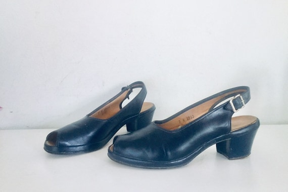 40s Shoes Blue Sandals Leather Slings Chunky Heel… - image 1