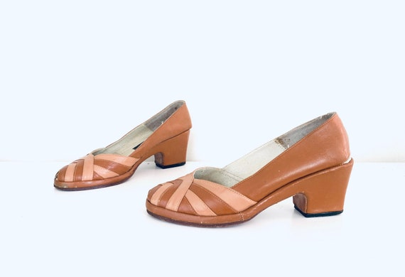 60s does 40s Wedge Heels Colorblock Shoes Leather