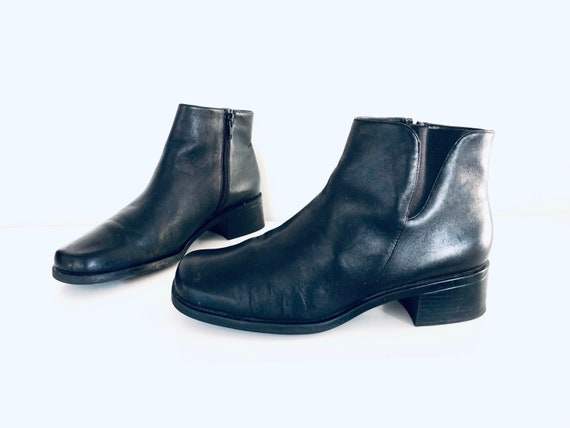 90s Black Leather Ankle Boots Chunky Heels by Part