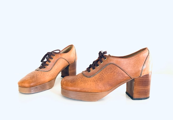 70s Platforms Leather Loafers Tan Tooled by Orchid