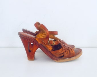 70s Leather Sandals Wedge Heel Wood Cut Out Heels Size 7.5 37 38 made in Brazil by Rapallo